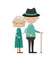 colorful full body elderly couple in walking stick vector image vector image