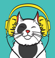 cool art of cat with headphone music vector image vector image