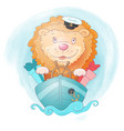 cute cartoon lion ship captain with gifts on vector image