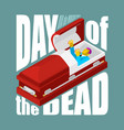 day of the dead open coffin departed zombie in vector image vector image
