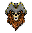 death pirates skull with big hat and long vector image vector image