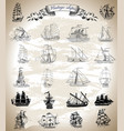 design set with vintage ships vector image vector image