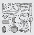 different tools for sewing workshop vector image vector image