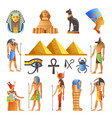 egypt culture symbols isolated icons of vector image vector image