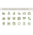 finance and banking icon set design 48x48 pixel vector image