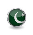 flag of pakistan button with metal frame and vector image