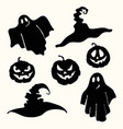 ghost pumpkin lantern and witch hat stencil on vector image vector image
