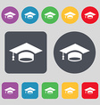 Graduation icon sign A set of 12 colored buttons vector image