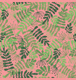 green leaves on pink seamless pattern vector image vector image