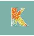 Hand drawn floral letter K isolated on blue vector image vector image