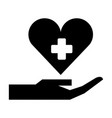 hand with medical heart and cross symbol vector image vector image