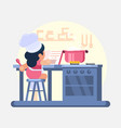 happy little funny girl cook chef helping cooking vector image vector image