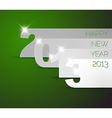 Happy New Year 2013 green card vector image vector image
