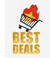 hot best deals shopping cart vector image