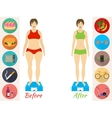 Infographic of fitness and sport healthy vector image