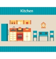 Kitchen with furniture vector image vector image