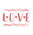 love 2 hand lettering card - handmade calligraphy vector image vector image