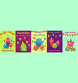 monster birthday greeting card monsters vector image vector image