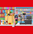 nfc payment in supermarket vector image vector image