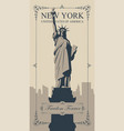 postcard with statue of liberty and nyc skyline vector image