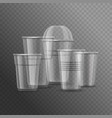 realistic detailed 3d plastic cups template mockup vector image vector image