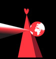 red heart and planet earth vector image