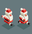 runinng santa claus isometric grandfather vector image