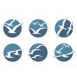 seagull icon set vector image vector image