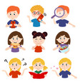 set isolated kids with different actions vector image vector image