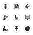 set of 9 editable office icons includes symbols vector image