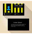 simple black and yellow striped business card vector image vector image
