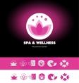 Spa wellness lotus flower logo icon vector image vector image