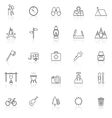 Trekking line icons with reflect on white vector image vector image
