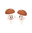 two mushroom characters one winking another vector image vector image