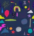 universe rainbow tree planet star seamless pattern vector image vector image