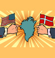 usa v denmark dispute over greenland hands of vector image vector image