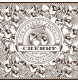 vintage cherry label on seamless pattern vector image vector image