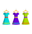 women dresses and hanger isolated flat vector image