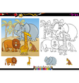 african animals coloring page set vector image