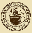 Coffee house stamp with cup vector image