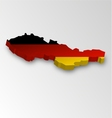 Three dimensional map of Germany in flag colors vector image