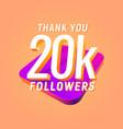 20k followers celebration in social media vector image