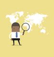 african businessman holding magnifying glass vector image vector image