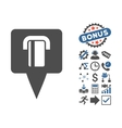Bank Terminal Map Pointer Flat Icon With vector image