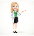 Beautiful blond woman doctor in a white lab coat vector image vector image
