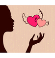 beautiful girl silhouette with hearts vector image vector image