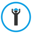 Boy Hands Up Rounded Icon vector image vector image
