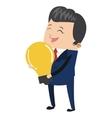 businessman holding lightbulb icon vector image vector image
