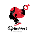 Capricorn zodiac sign Beautiful girl silhouette vector image vector image