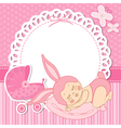 card with the birth of a child girl in bunny vector image vector image